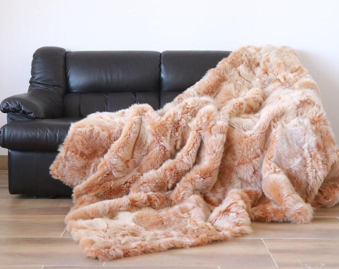 Luxurious Toscana Sheepskin Real Fur Throw | Real Fur Blanket | Sheepskin throw | Salmon Throw