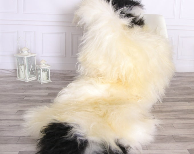 Double Icelandic Sheepskin Rug | Long rug | Shaggy Rug | Chair Cover | Runner Rug | Ivory Rug | Carpet | Ivory Sheepskin