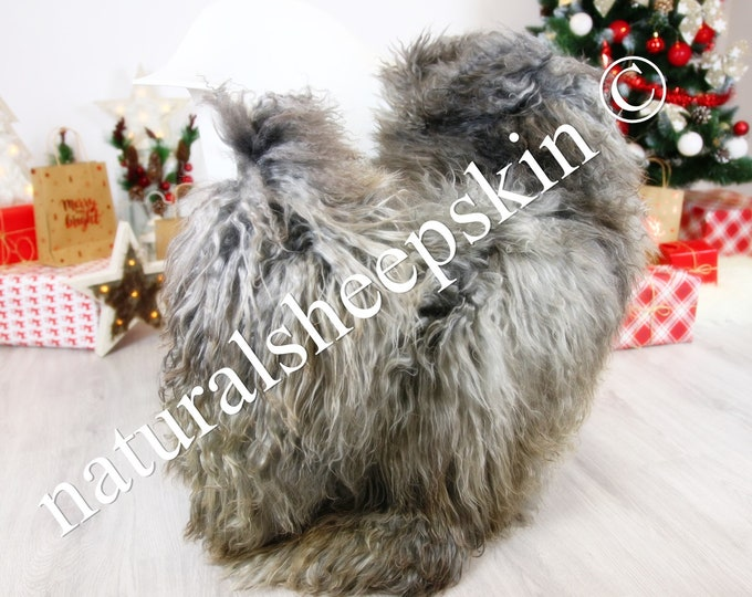 Genuine Rare Gotland Sheepskin Rug - Curly Fur Rug - Natural Sheepskin - Gray  Sheepskin #CHRISTGOT6