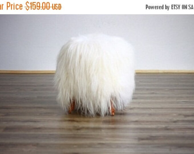 Exclusive Luxury Beautiful Unique Natural, Real icelandic Sheepskin Stool, bench, chair  cover soft, long fur