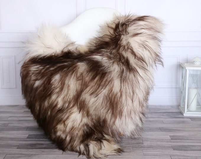 Icelandic Sheepskin | Real Sheepskin Rug | CHRISTMAS DECOR | Sheepskin Rug Brown White | Fur Rug | Homedecor #1isl33