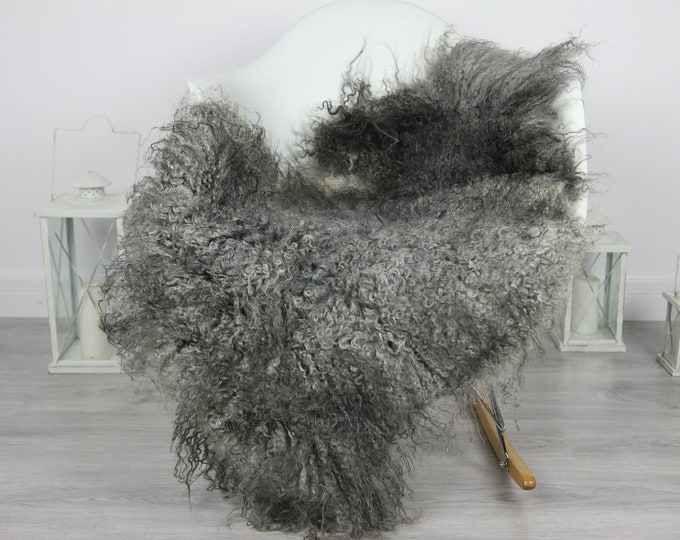 Genuine Rare Gotland Sheepskin Rug - Curly Fur Rug - Natural Sheepskin - Gray Sheepskin #CURLY4
