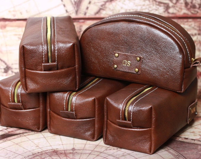 HANDMADE Personalized Men's Leather Toiletry Case Dopp Kit Shaving Bag OOAK Gift For Him, Gift for Father, Gift for Grandpa, Gift for Man