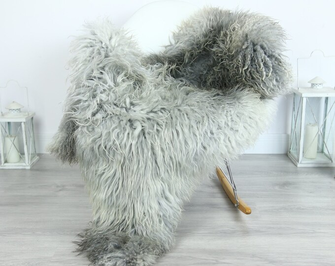Genuine Rare Gotland Sheepskin Rug - Curly Fur Rug - Natural Sheepskin - Gray Sheepskin #GOTKW16