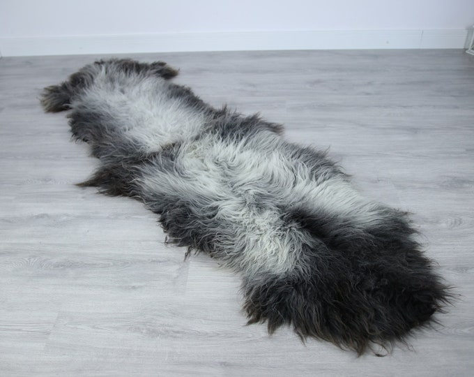 Double Sheepskin Rug | Long rug | Shaggy Rug | Chair Cover | Runner Rug | Carpet | Gray Brown Sheepskin | Sheepskin Rug | LUSZY15