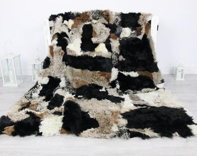 Luxurious Gotland Curly Sheepskin Real Fur Throw | Real Fur Blanket | Sheepskin throw | Curly Fur Throw