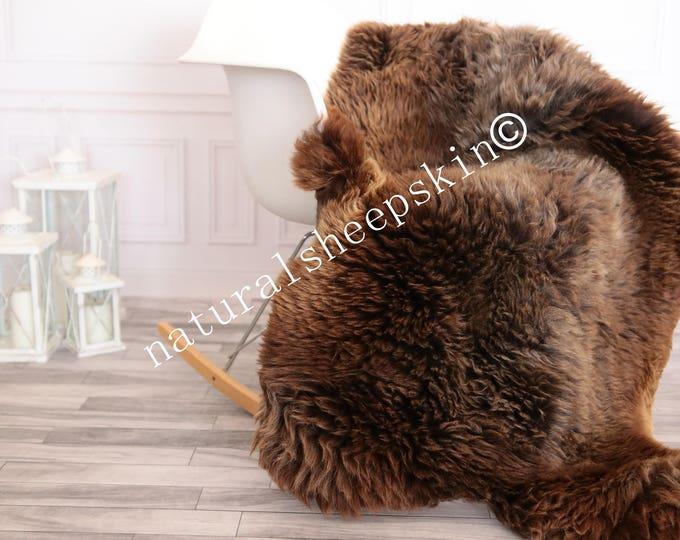 Sheepskin Rug | Real Sheepskin Rug | Shaggy Rug | Scandinavian Rug | | SCANDINAVIAN DECOR | brown Sheepskin  #FEBHER13