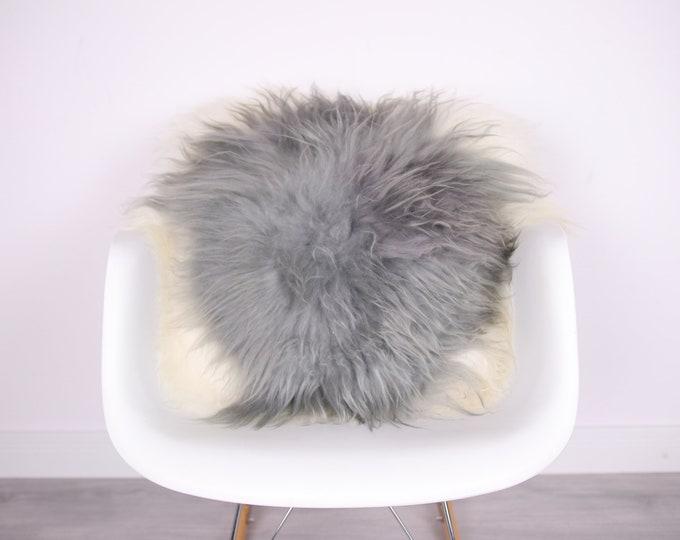 Sheepskin Fur Pillow, Real fur pillow, Gray fur pillow, Square sheepskin pillow, Grey white pillow, scandinavian pillow, Both side fur