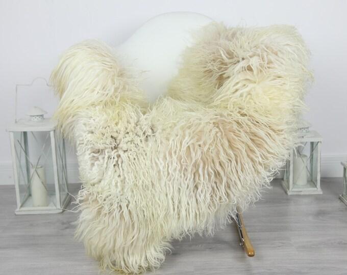 Genuine Rare Mongolian Sheepskin Rug - Curly Fur Rug - Natural Sheepskin - Beige Ivory Sheepskin #CURLY8