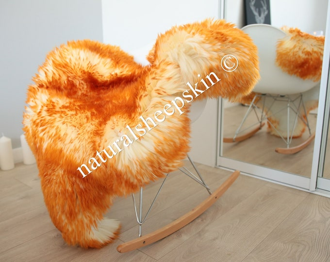 Genuine Natural Orange Sheepskin Rug Sheepskin Throw  Scandinavian Style | Scandinavian Rug | Orange MOUFLON Sheepskin
