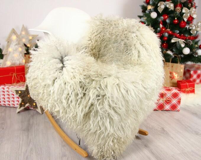 Genuine Rare Gotland Sheepskin Rug - Curly Fur Rug - Natural Sheepskin - Gray  Sheepskin #CHRISTGOT1