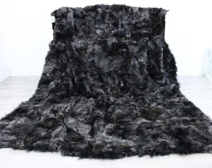 Luxurious Toscana Sheepskin Real Fur Throw | Real Fur Blanket | Sheepskin throw | Gray throw |Fu74