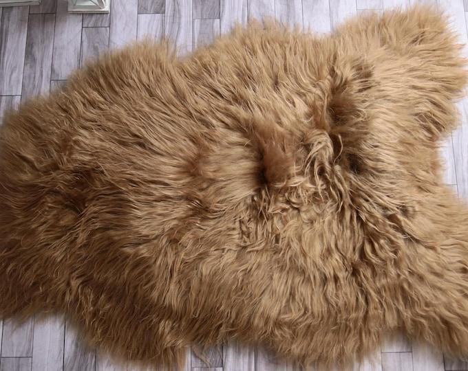 ON SALE Icelandic Sheepskin | Real Sheepskin Rug | Blonde Sheepskin | Fur Rug | Blonde Sheepskin Rug | L Large |