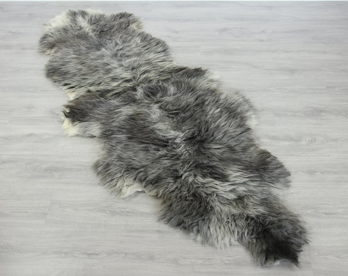 Double Sheepskin Rug Long rug Large Sheepskin Throw Chair Cover Runner Rug  Carpet Gray Sheepskin Sheep Skin Rug | 2double6