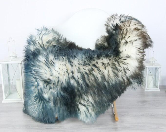 Sheepskin Rug   Real Sheepskin Rug   Shaggy Rug   Scandinavian Rug   Sheepskin Throw Blue White Sheepskin   SCANDINAVIAN DECOR   #5HER13