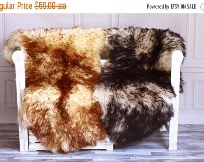 ON SALE Beautiful Black, Brown Tips Sheepskin Rug, Sheepskin Throw, Cosy  <3