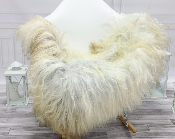 Icelandic Sheepskin   Real Sheepskin Rug   Grey Ivory White Sheepskin Rug   Fur Rug   #islsept16