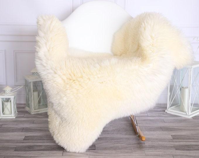 Sheepskin Rug | Real Sheepskin Rug | Shaggy Rug | Scandinavian Rug | | SCANDINAVIAN DECOR | Beige White Sheepskin #OLHER22