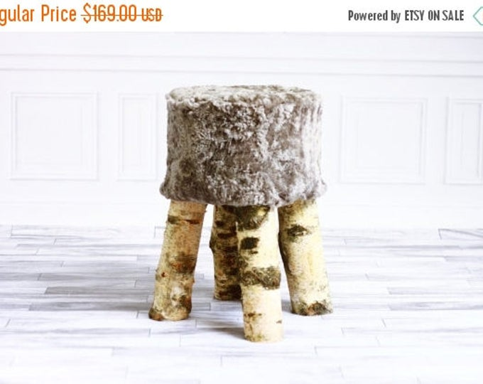 ON SALE Luxury Beautiful Real SHAGGY Gray Sheepskin Stool, Chair, Pouf, Scandinavian Design
