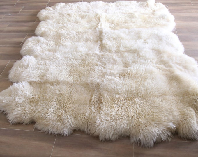 Genuine Natural creamy white Sheepskin Rug, Pelt,  Giant Sheepskin rug, Large sheepskin Rug, Sheepskin throw 250x190 DECA