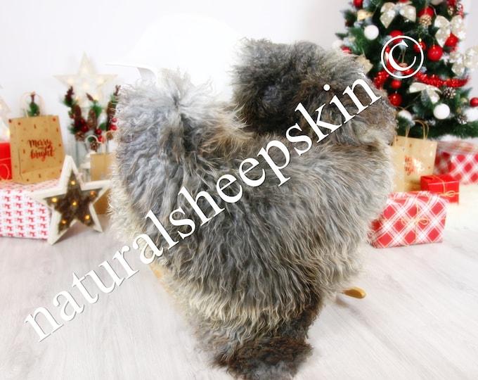 Genuine Rare Gotland Sheepskin Rug - Curly Fur Rug - Natural Sheepskin - Gray  Sheepskin #CHRISTGOT4