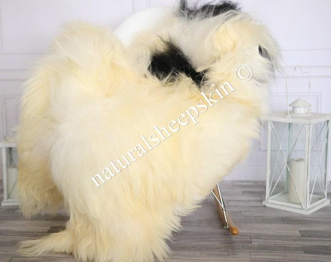 Icelandic Sheepskin | Real Sheepskin Rug | Sheepskin Rug Beige Black | Fur Rug | Homedecor #MAYISL23