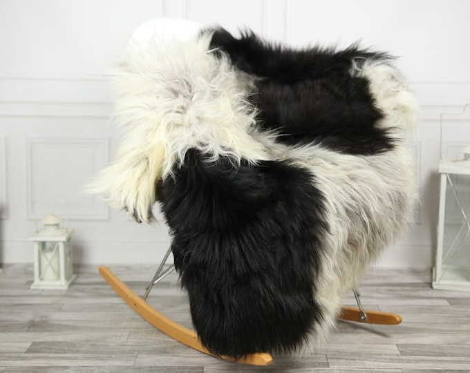 Icelandic Sheepskin | Real Sheepskin Rug | CHRISTMAS DECOR | Sheepskin Rug Gray Black | Fur Rug | Homedecor #2ISL5