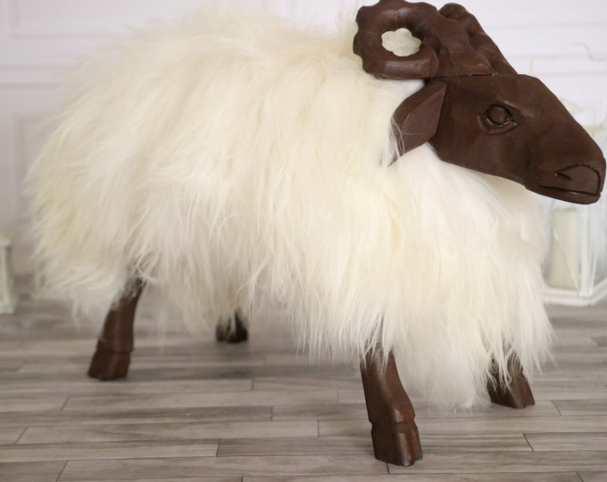Sheepskin Bench   Nursery decor   Handmade wooden Sheep bench   Sheepskin Stool   Sheep sculpture   Rustic Stool  