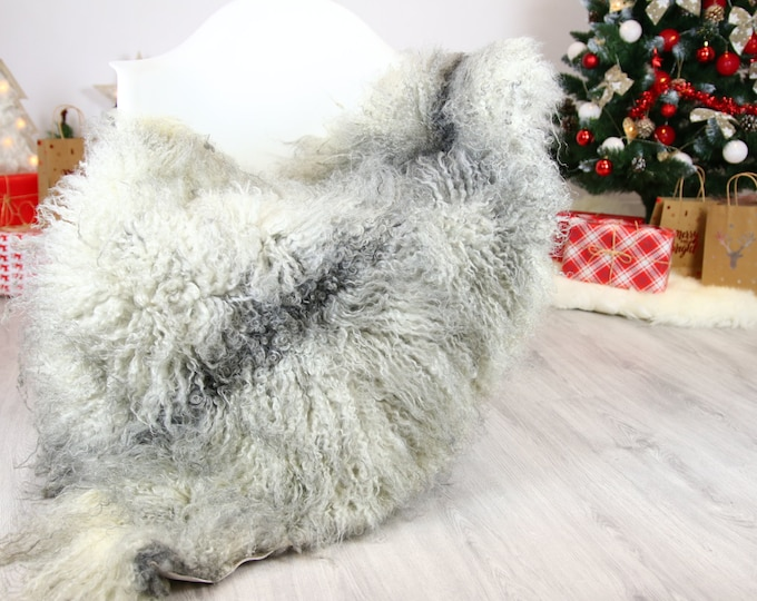 Genuine Rare Gotland Sheepskin Rug - Curly Fur Rug - Natural Sheepskin - Gray  Sheepskin #CHRISTGOT15