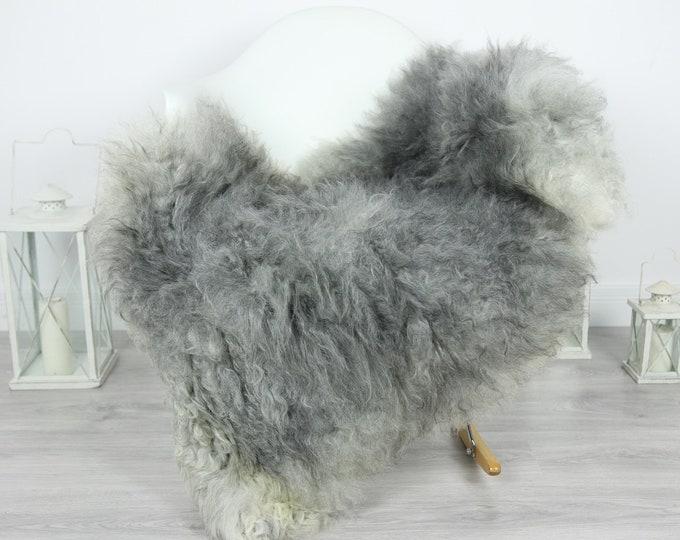 Genuine Rare Gotland Sheepskin Rug - Curly Fur Rug - Natural Sheepskin - Gray Sheepskin #CURLY20