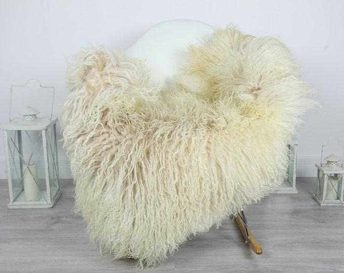 Genuine Rare Mongolian Sheepskin Rug - Curly Fur Rug - Natural Sheepskin - Ivory Beige Sheepskin #CURLY15