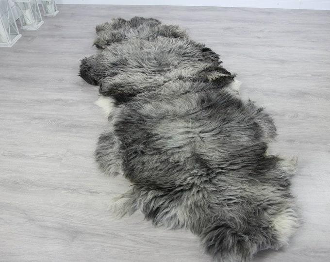 Double XXL Sheepskin Rug | Long rug | Shaggy Rug | Chair Cover | Runner Rug | Carpet | Gray Sheepskin | Sheepskin Rug | Grayszy4