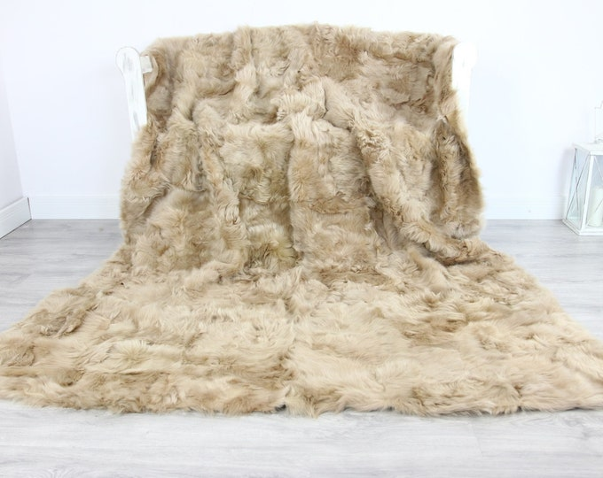 Luxurious Toscana Sheepskin Real Fur Throw | Real Fur Blanket | Sheepskin throw | Beige throw |Fu73