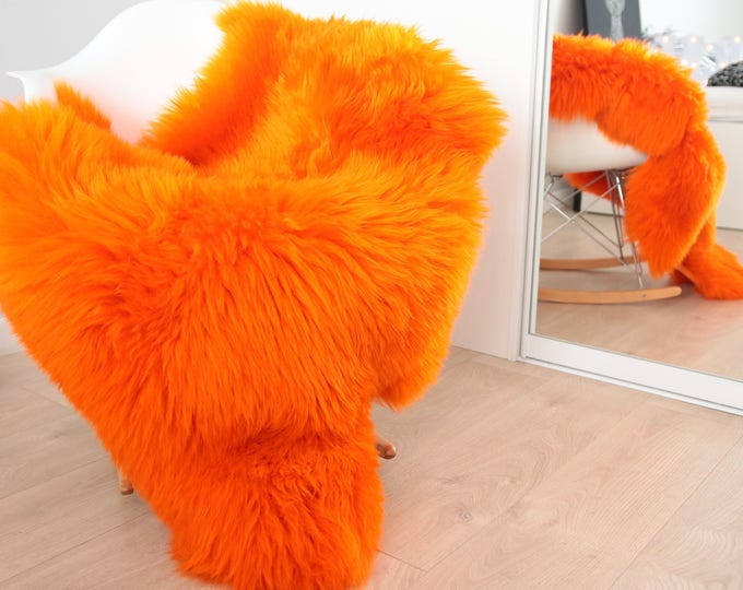 Genuine Natural Orange Sheepskin Rug Sheepskin Throw  Scandinavian Style   Scandinavian Rug   Orange Sheepskin