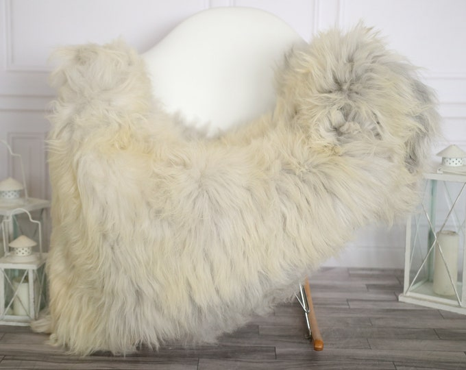 Sheepskin Rug | Real Sheepskin Rug | Shaggy Rug | Sheepskin Throw | Super Large Sheepskin Rug Beige Gray | Home Decor | #HERMAJ81