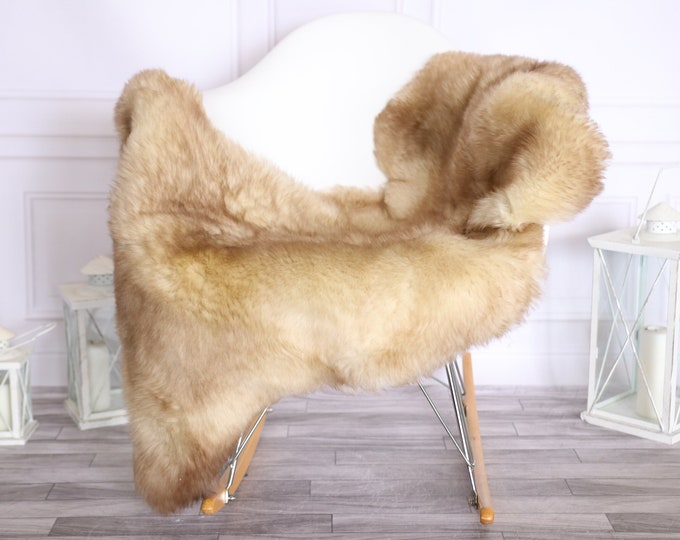 Sheepskin Rug | Real Sheepskin Rug | Shaggy Rug | Scandinavian Rug | | SCANDINAVIAN DECOR | Beige Brown Sheepskin #OLHER10