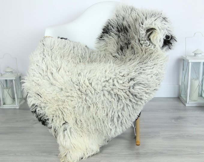 Organic Curly Sheepskin Rug, Real Sheepskin Rug, Gute Sheepskin, Gray Black Sheepskin Rug #GOTKW12
