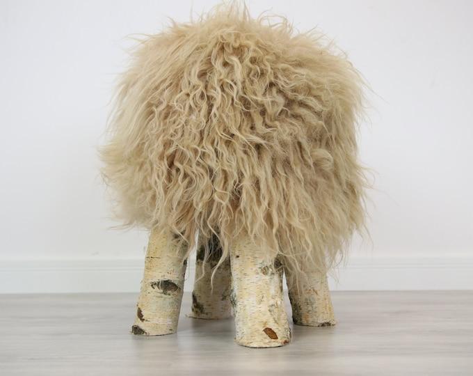 Wood Stool | Champagne Fur Stool | Sheepskin pouf | Icelandic Sheepskin stool | Vanity Stool | Birch tree stool | Champagne stool