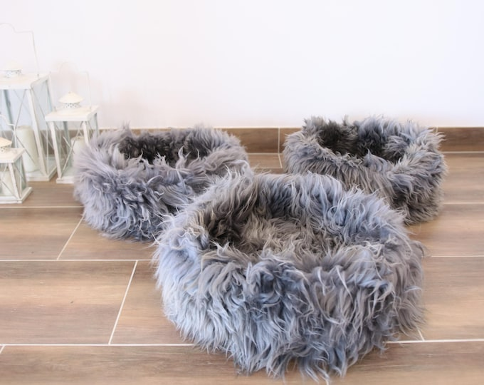 Large Sheepskin Cat bed | Sheepskin Dog bed | Cat Pouf | Dog Pouf | Sheepskin Cat Mat | Dog Mat | Gray Pet Bed | Fur Pet Bed