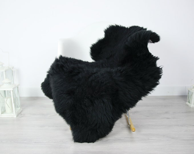 Real, Natural, Genuine black Sheepskin Rug Scandinavian