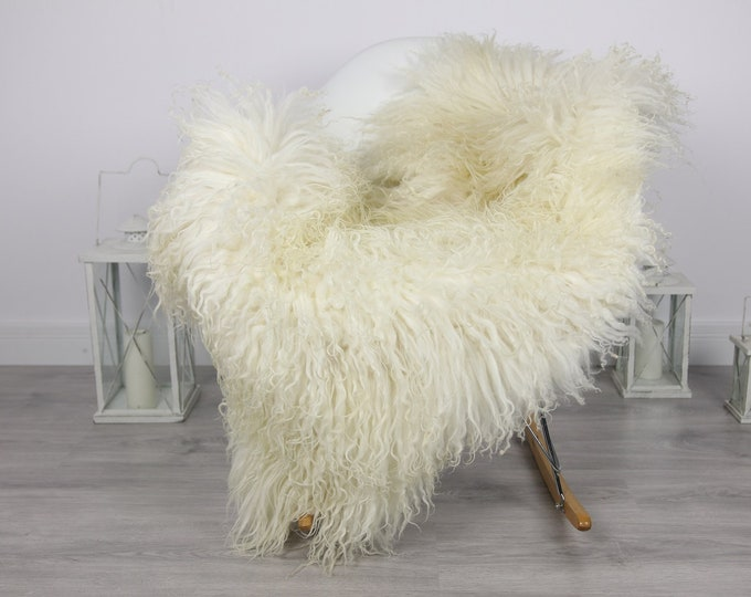 Genuine Rare Mongolian Sheepskin Rug - Curly Fur Rug - Natural Sheepskin - Ivory Sheepskin #CURLY1