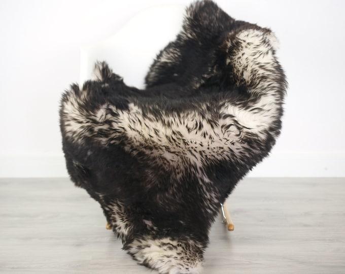 Real Sheepskin Rug Pelt soft long fur Large Sheep Skin - Mouflon Black Sheepskin Throw Sheep skin Black Tips Chair Cover Scandinavian Decor