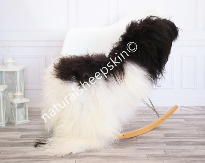 Icelandic Sheepskin | Real Sheepskin Rug | Black White Sheepskin Rug | Fur Rug | Homedecor #febisl22