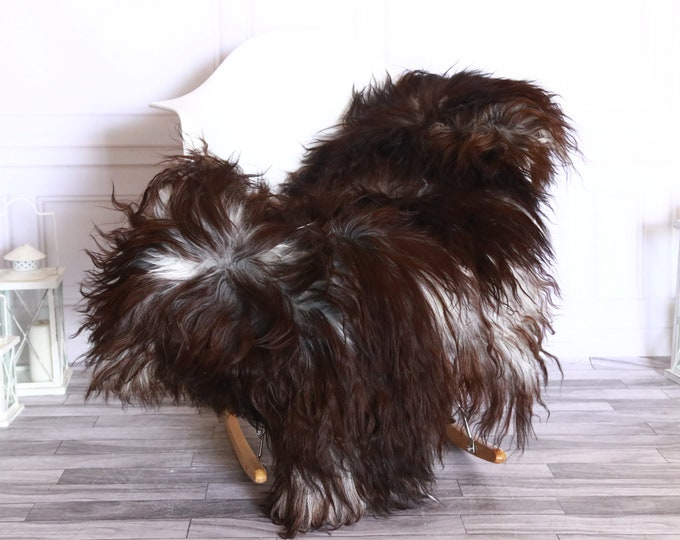 Icelandic Sheepskin | Real Sheepskin Rug | Sheepskin Rug Brown White | Fur Rug | Homedecor #WRZISL8
