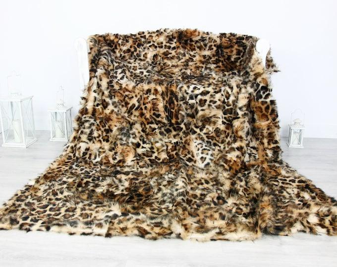 Luxurious Toscana Sheepskin Real Fur Throw | Real Fur Blanket | Sheepskin throw | Panther print Throw