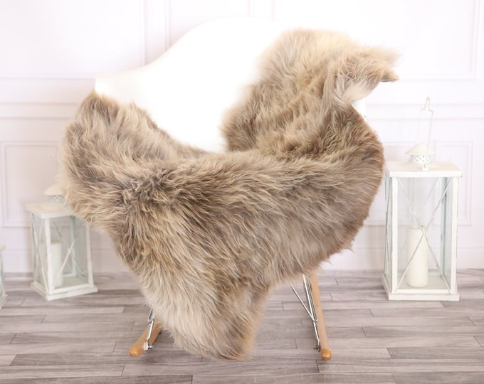 Sheepskin Rug | Real Sheepskin Rug | Shaggy Rug | Scandinavian Rug | | SCANDINAVIAN DECOR | Beige Brown Sheepskin  #MIHER12