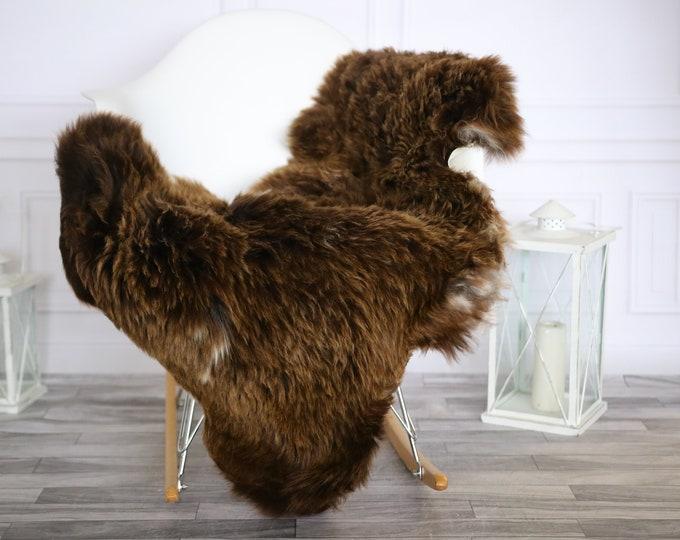 Sheepskin Rug | Real Sheepskin Rug | Shaggy Rug | Chair Cover | Sheepskin Throw | Brown White Sheepskin | Home Decor | #HERMAJ36