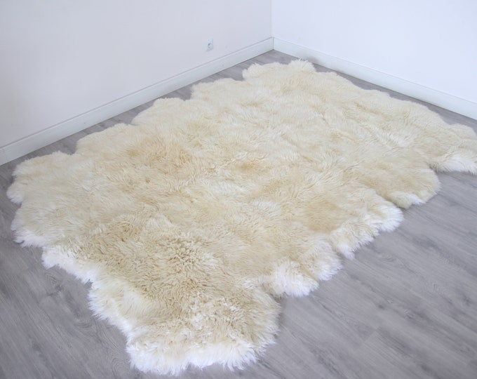 Real Sheepskin Rug Creamy White Huge Sheep skin Throw Blanket