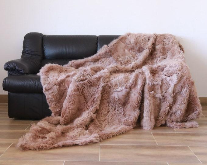 Luxurious Toscana Sheepskin Real Fur Throw | Real Fur Blanket | Sheepskin throw | dusty rose Throw