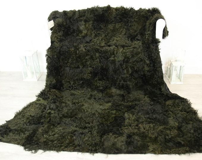 Luxurious Gotland Sheepskin Real Fur Throw | Real Fur Blanket | Sheepskin throw | Olive Green Throw